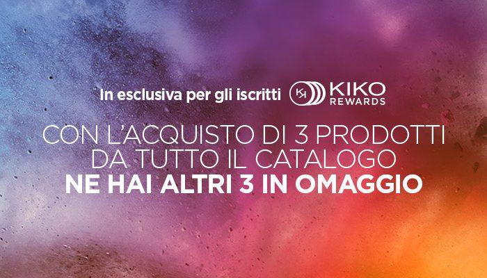 Kiko: se compri tre prodotti, altri tre sono in omaggio